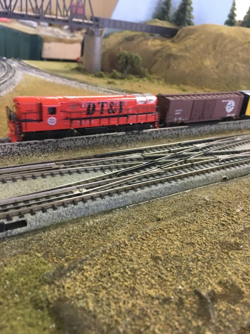Custom painted Detroit Toledo and Iornton locomotive